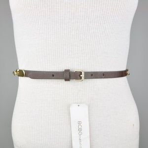 BCBG Brown Gold Faux Leather Metallic Chain Belt